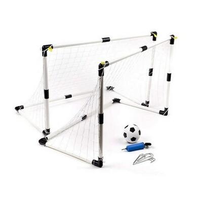 JP Sada branek na fotbal 2 ks s míčem a pumpičkou, bílá + černá