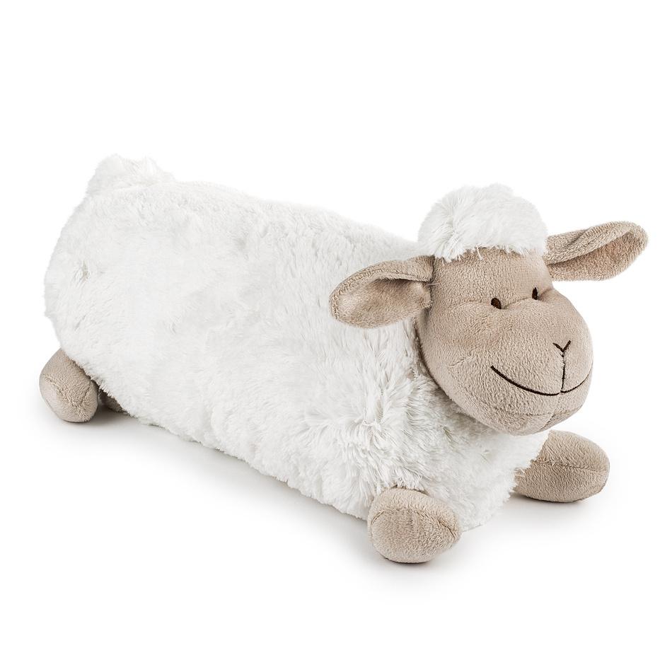 BO-MA Trading Polštářek Ovečka dlouhá bílá, 48 x 18 cm