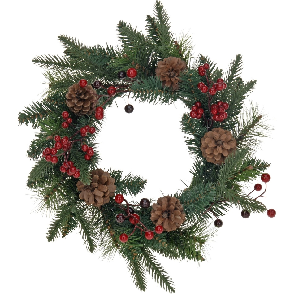 Vánoční věnec se šiškami a cesmínou, pr. 30 cm,, plast