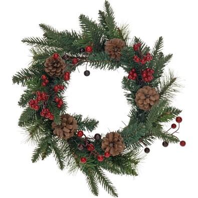 Vánoční věnec se šiškami a cesmínou