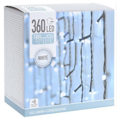 Icicle karácsonyi fényfüzér fehér, 360 LED