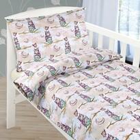 Lenjerie de pat din bumbac pentru pătuț Bufniță pe creangă, 90 x 135 cm, 45 x 60 cm