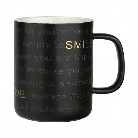 Altom Porcelánový hrnček Smile 360 ml, čierna