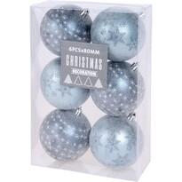 Koopman Sada vánočních ozdob Pachino modrá, 6 ks, pr. 8 cm
