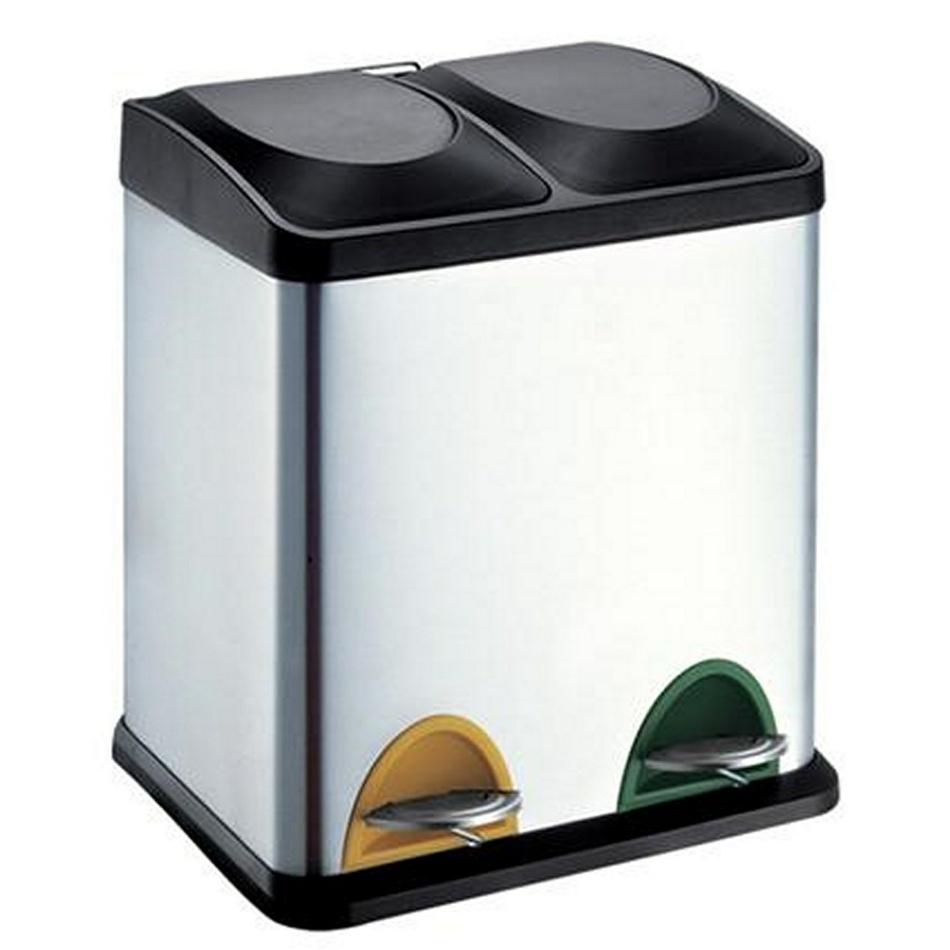 Coș de inox pentru selectare deșeuri Toro 2 x 15 litri imagine 2021 e4home.ro
