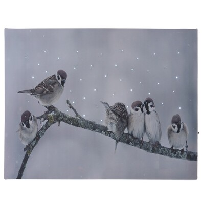 LED Obraz na plátne Birds in winter, 40 x 30 cm
