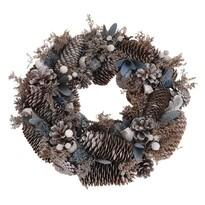 Tollo karácsonyi koszorú, szürke, átmérő: 33 cm