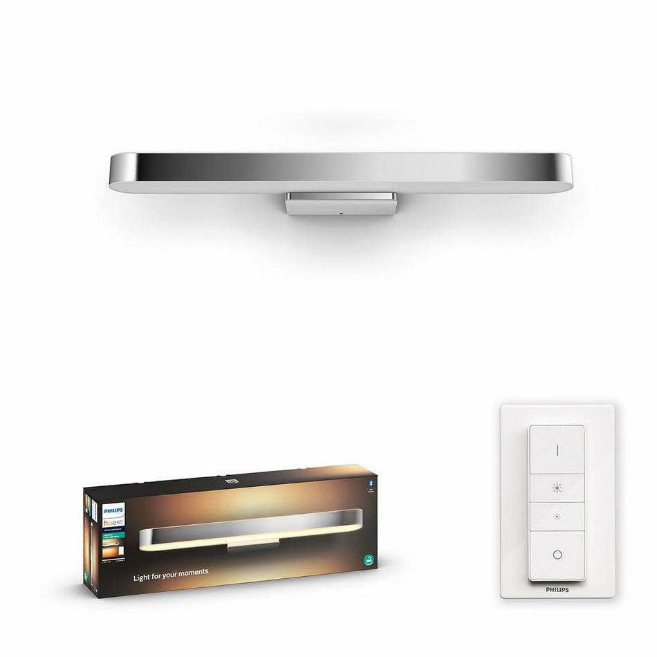 Hue LED White Ambiance Nástěnné koupelnové svítidlo Philips Adore BT 34177/11/P6 40W 3000lm 2200-6500K IP44 24V, chromové s dálkovým ovladačem a Bluetooth
