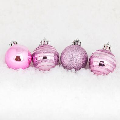 Vánoční koule 15 ks růžová