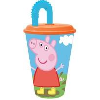 Plastový téglik so slamkou Peppa Pig 430 ml