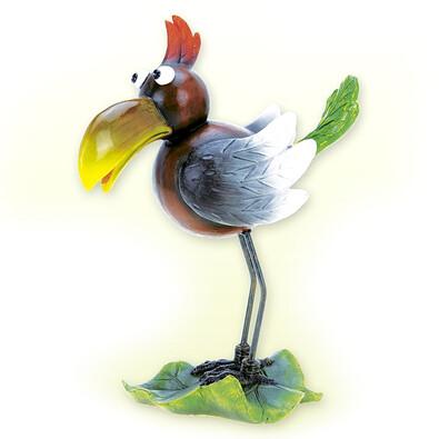 Dekorativní pták s kovovýma nohama