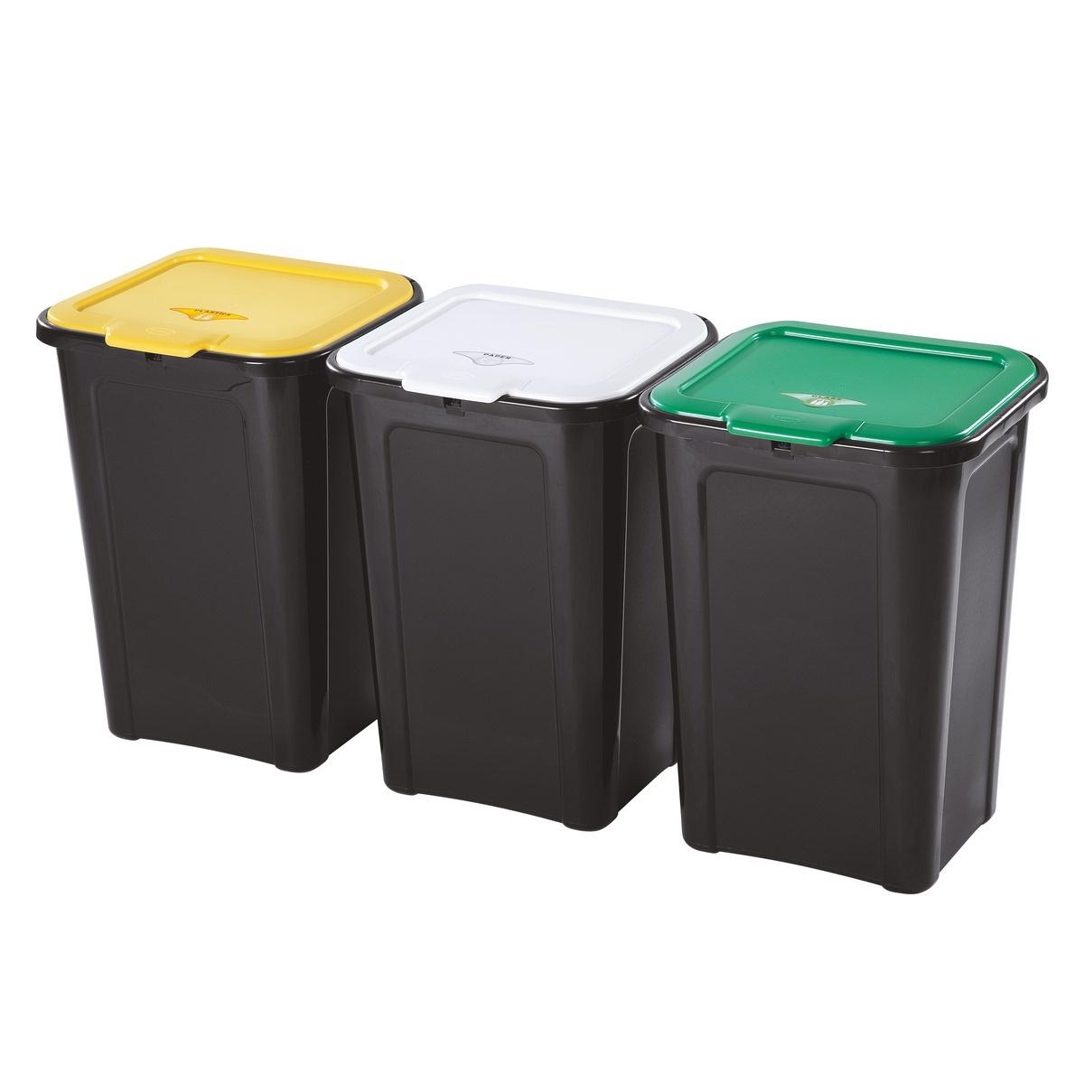 Tontarelli Koš na tříděný odpad 3 x 45 l, černá