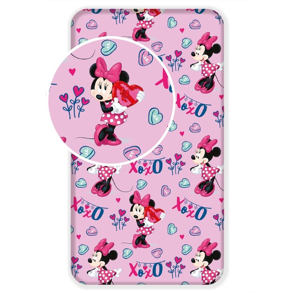 Jerry Fabrics Dětské bavlněné prostěradlo Minnie baby pink, 90 x 200 cm