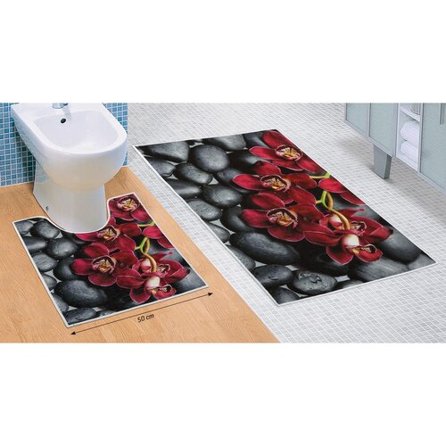 Komplet dywaników łazienkowych Orchidea 3D, 60 x 100 cm, 50 x 60 cm
