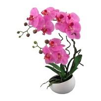Mű orchidea virágtartóban, rózsaszín, 42 cm