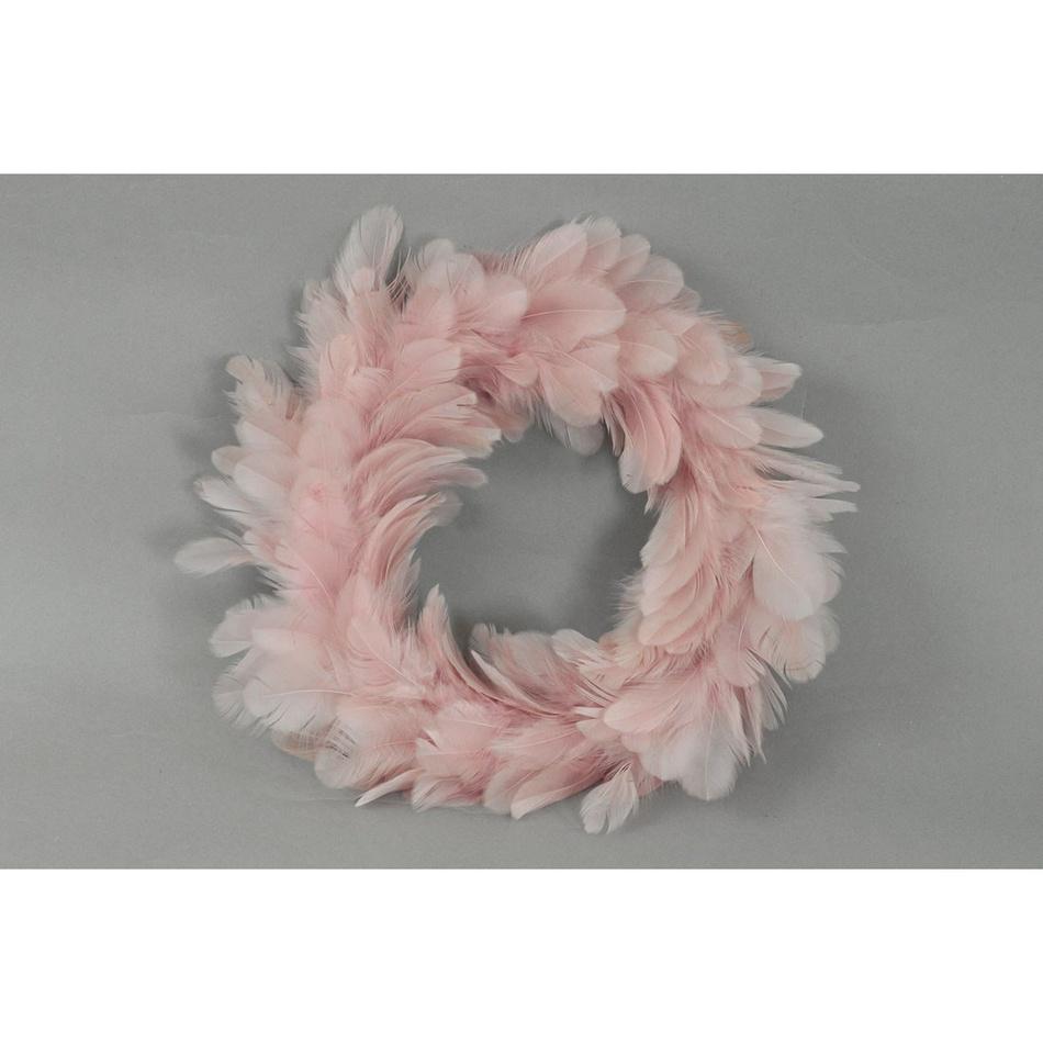 Vánoční věnec Pírka růžová, 25 cm