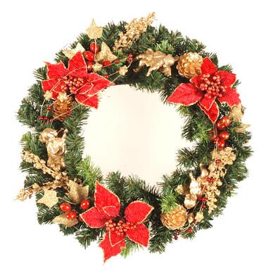 Dekorativní vánoční věnec Poinsettia samet, pr. 40