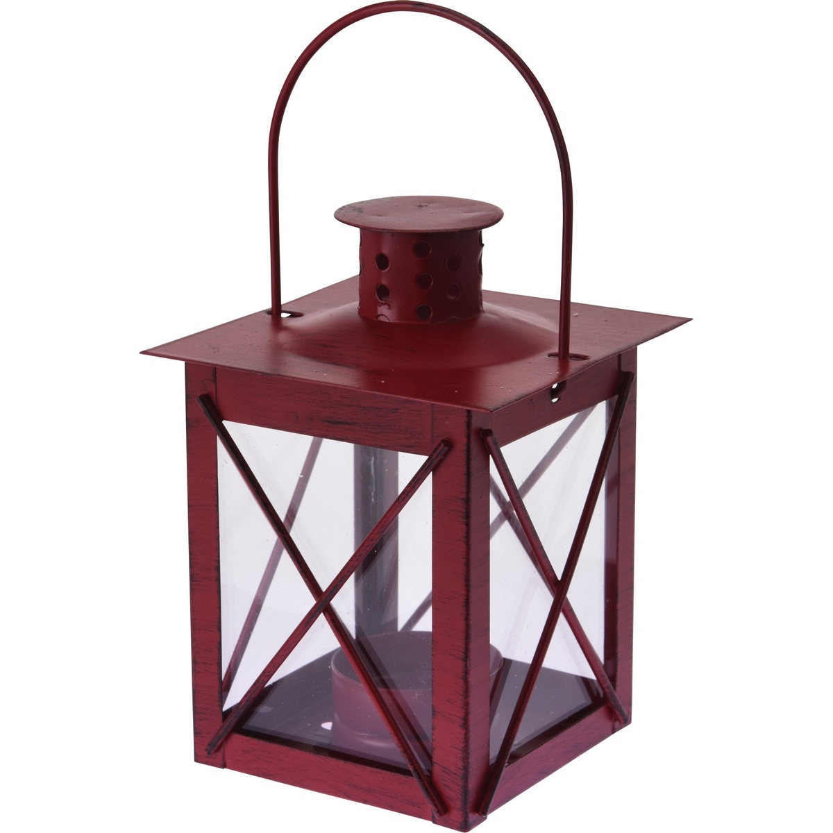 Kovová lucerna na čajovou svíčku Redline červená, 10 x 14 cm