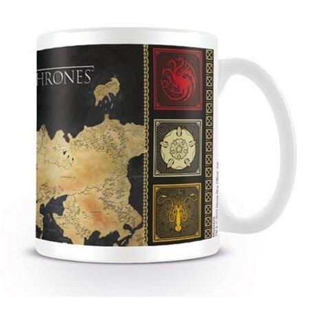 CurePink Keramický hrnek Game of Thrones/Hra o trůny Mapa bílý 315 ml