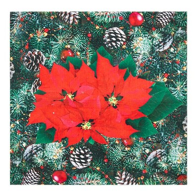 Mikulásvirág karácsonyi abrosz, 35 x 35 cm