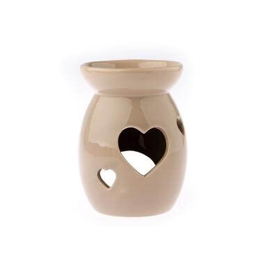 Keramická aromalampa Srdce, hnědá
