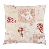 Bellatex Poduszka Ema Patchwork serce różowy, 45 x 45 cm