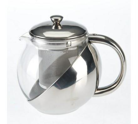 Konvice na čaj se sítkem, stříbrná