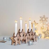Solight Drevený svietnik Hviezdy s 5 LED sviecami, teplá biela
