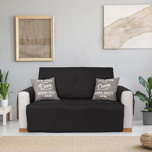 4Home Prehoz na sedaciu súpravu Doubleface čierna/sivá, 180 x 220 cm