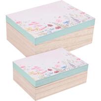 Sada dekoračných boxov Flower paradise 2 ks, modrá