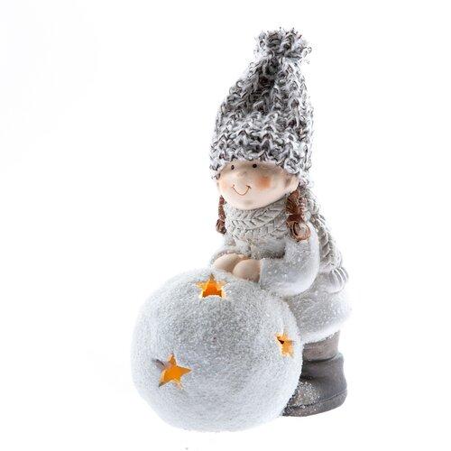 Keramická holčička s LED osvětlením, 13 cm