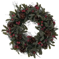 Vianočný dekoračný veniec Helene pr. 24 cm, červené bobule