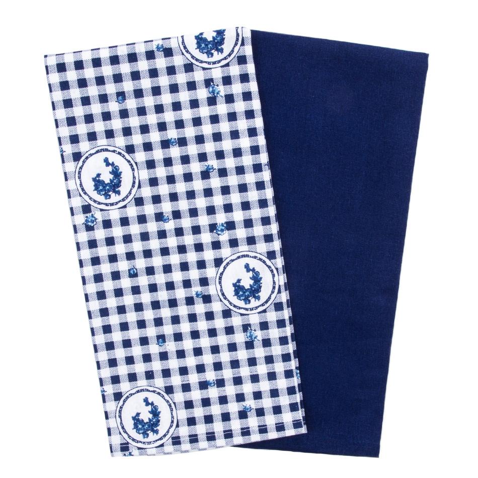 Trade Concept Kuchyňská utěrka Elegant kostka modrá, 50 x 70 cm, sada 2 ks