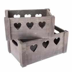 Sada dekoračných drevených debničiek Hearts 2 ks, sivá