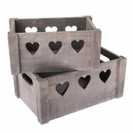Sada dekoračních dřevěných bedýnek Hearts 2 ks, šedá