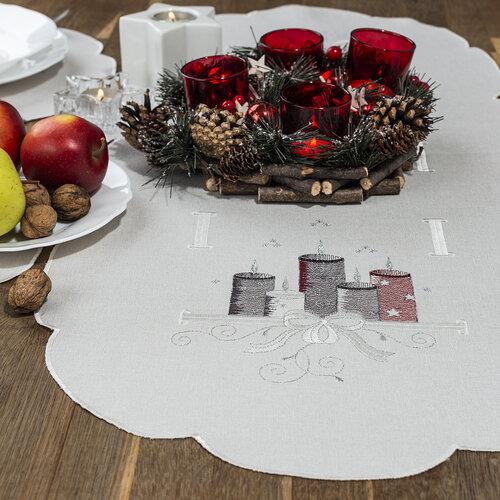 Faţă de masă de Crăciun Lumânări, colorate, 40 x 90 cm