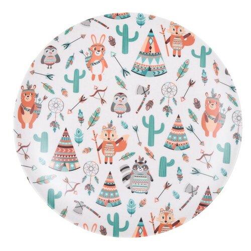 Bambusový tanier Indian 25 cm, biela