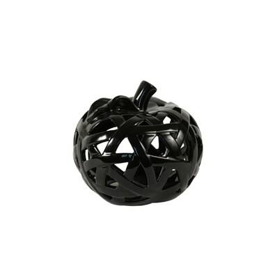 Keramický svícen ve tvaru jablka černá