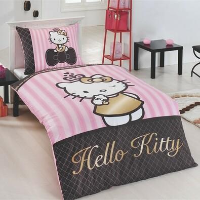 Matějovský Bavlněné povlečení Hello Kitty Gold, 140 x 200 cm, 70 x 90 cm