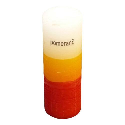 Trojfarebná sviečka s vôňou pomaranča
