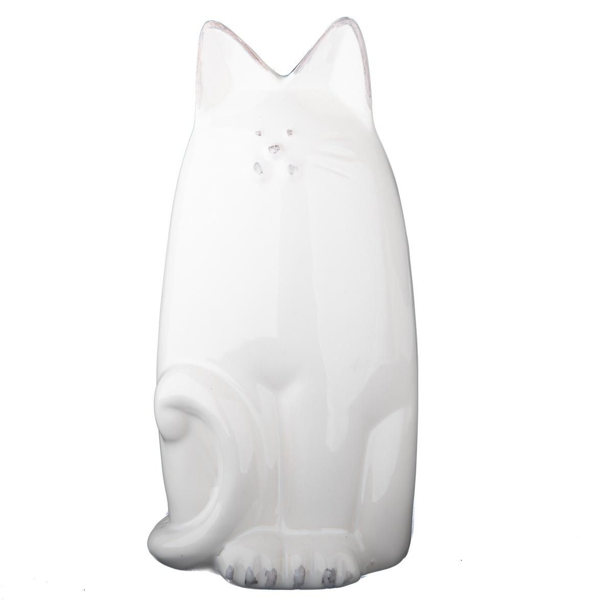 Keramická kasička kočka 19,5 cm, bílá