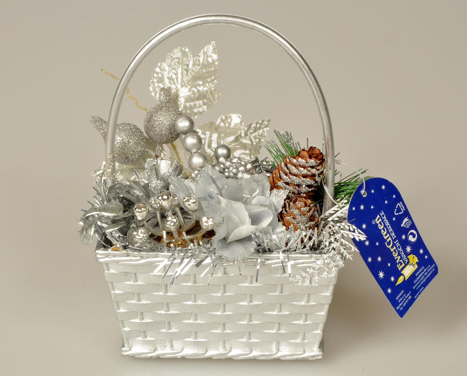 Dekorační košík s přízdobami, stříbrná