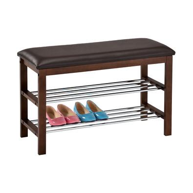 Półka na buty z siedziskiem 2 piętra, brązowy