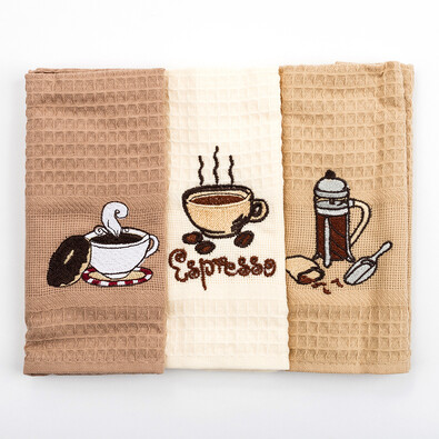 Kuchyňské utěrky Espresso, 40 x 60, sada 3 ks