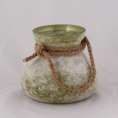 Skleněná váza s provázkem, zelená