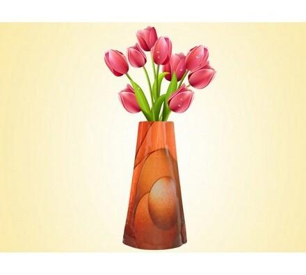 Váza skladací oranžová, oranžová, 19 x 28 cm