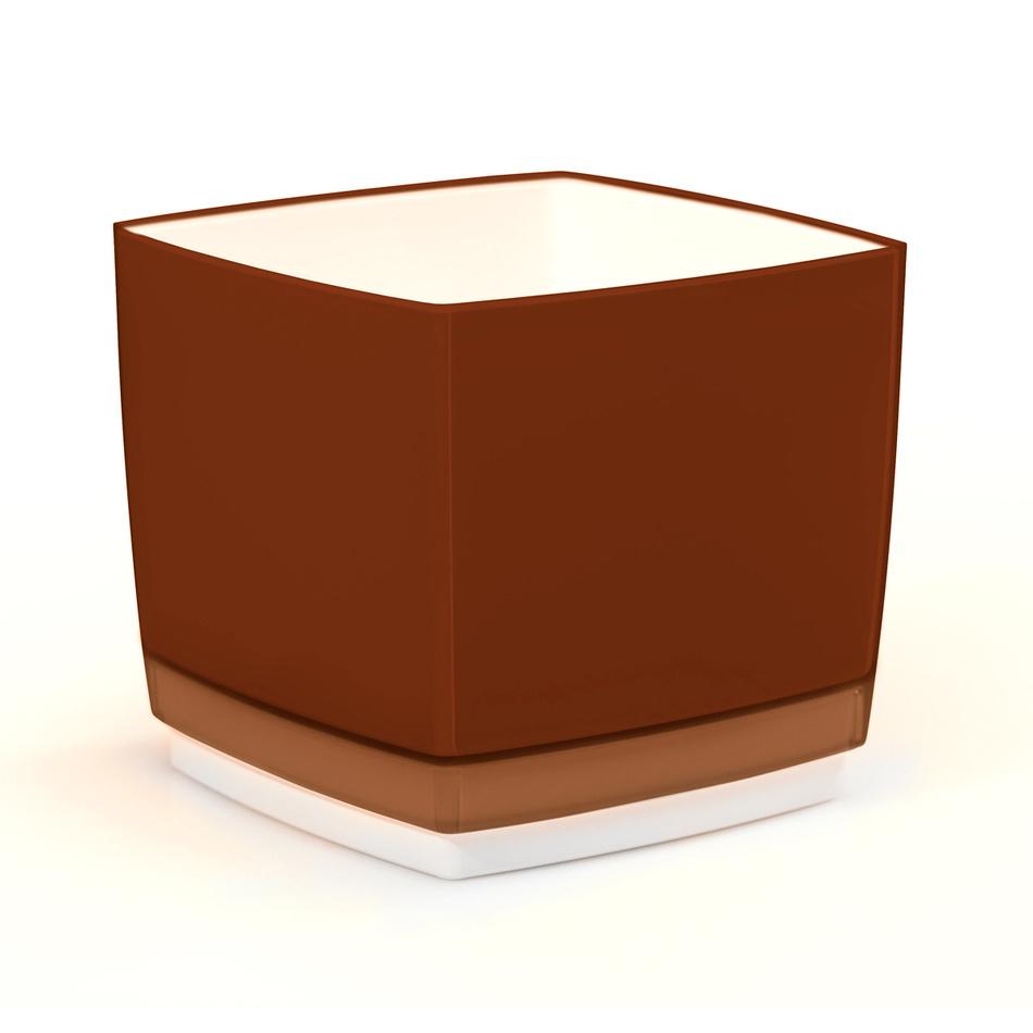 Plastový květináč Cube 200 hnědá