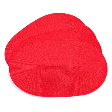 Prostírání ovál červená, 45 x 30 cm, sada 4 ks