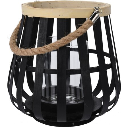 Dřevěný svícen Bamboo černá, 26 cm