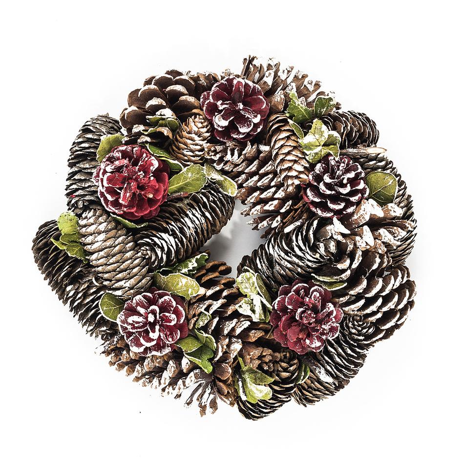 Dekorativní vánoční věnec se šiškami a listy 24 cm, HTH